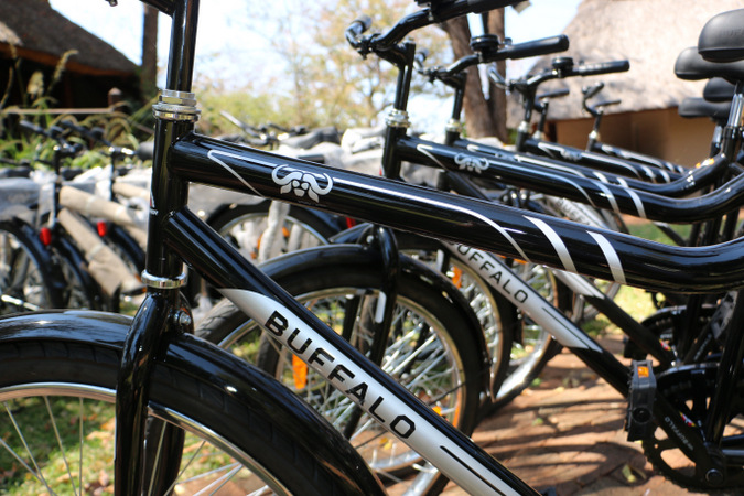 Up-close of a row of new bicycles