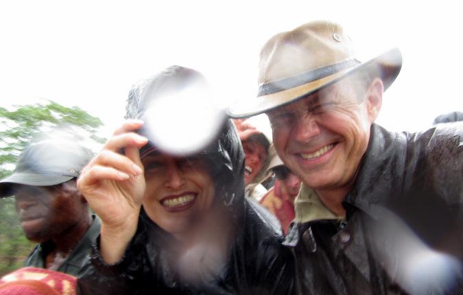 In the rain while on safari in Africa