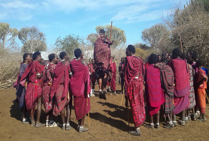 Maasai warriors dancing