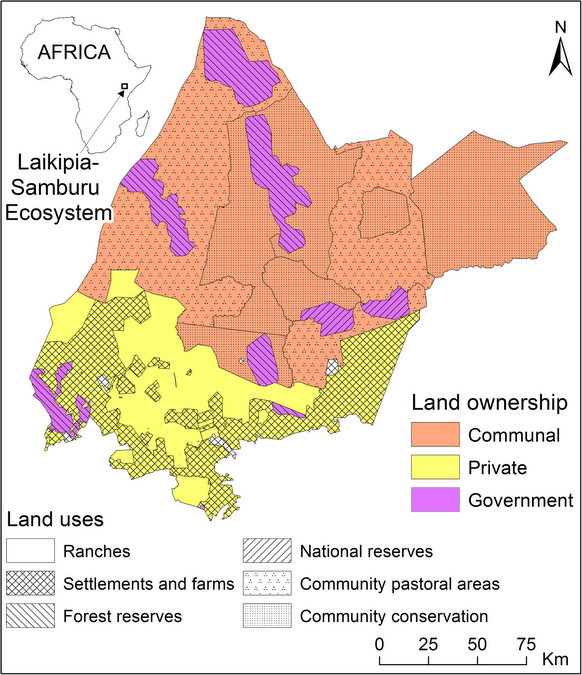 Map showing land distribution in Laikipia-Samburu ecosystem