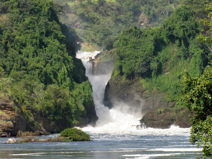 Waterfall at Murchison Falls National Park in Uganda