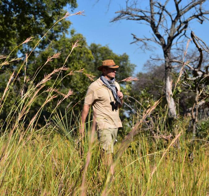 Green season safari in Africa, walking through African bush grass