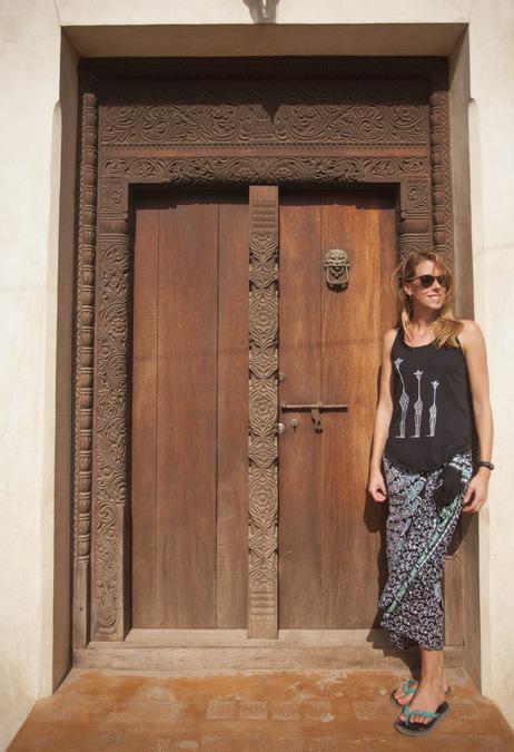 An intricately carved Lamu-style door in Lamu Town, Kenya