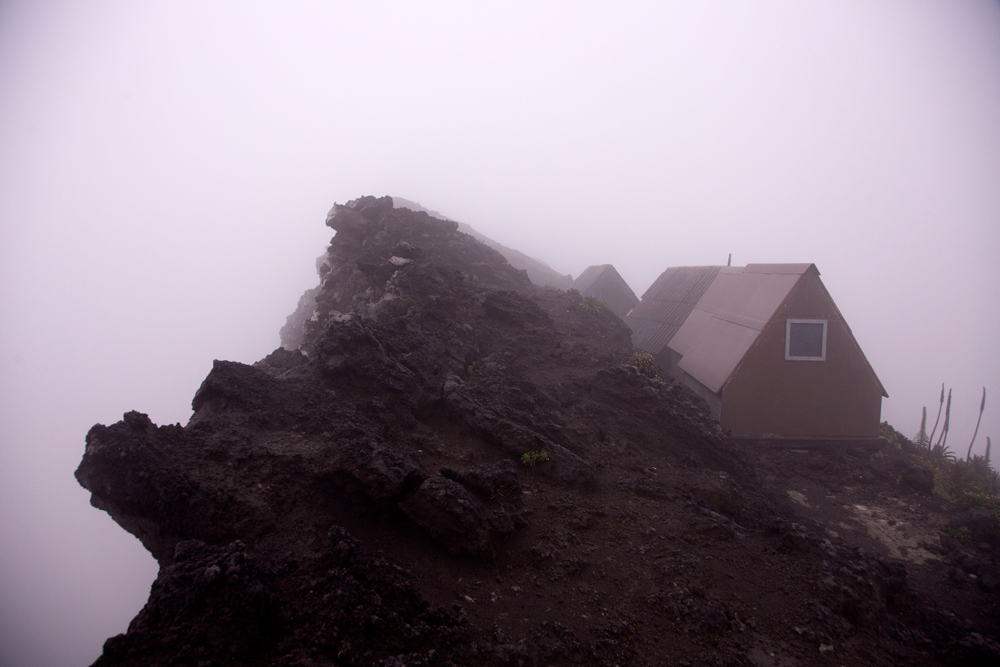 Huts on the side of Nyiragongo volcano, DR Congo
