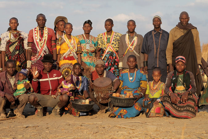 Sukuma village members pose for a family photo in Tanzania