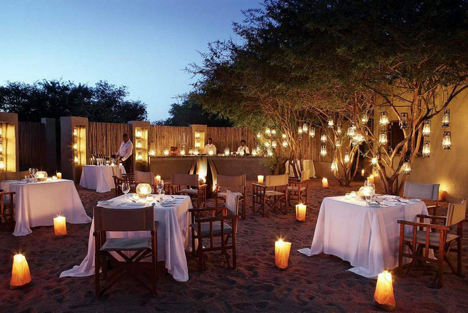 Dinner in a boma in Londolozi Game Reserve