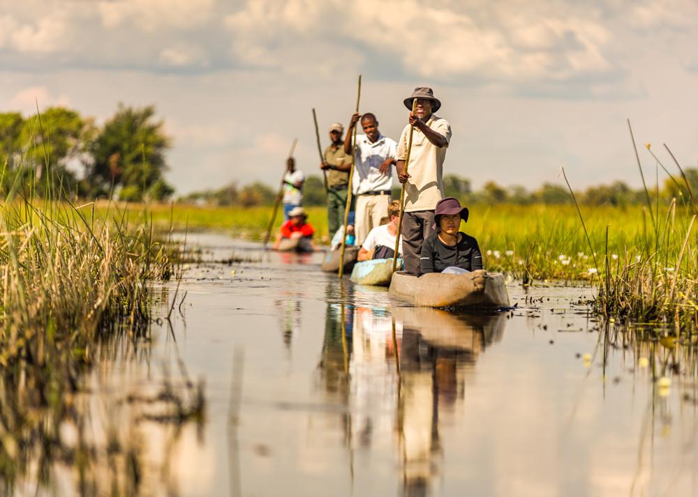 Gliding down the water channels of Okavango Delta in a mokoro