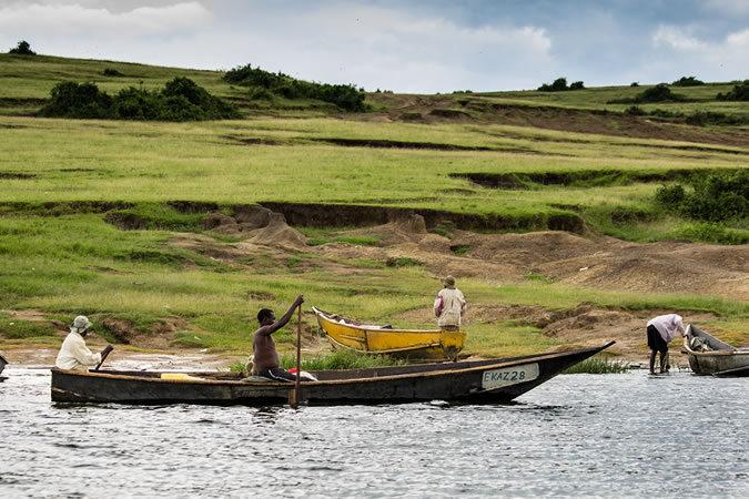 Fishermen on Kazinga channel in Queen Elizabeth NP in Uganda