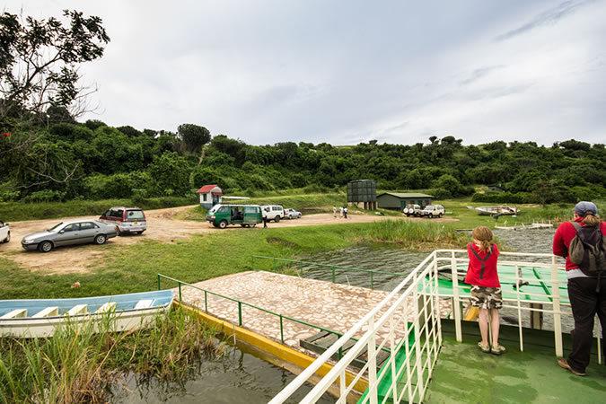 Jetty on Kazinga channel in Queen Elizabeth NP in Uganda