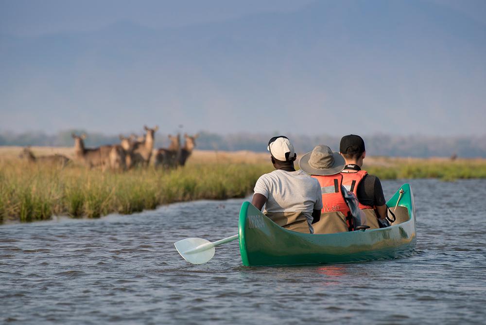 Group of people gliding down the Zambezi River