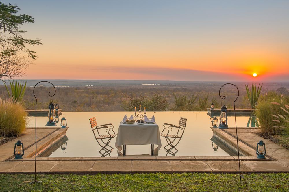 Outside dinner at sunset