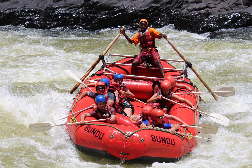 White river rafting on Zambezi River