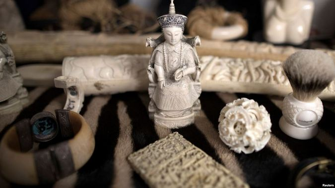 Seized ivory carvings