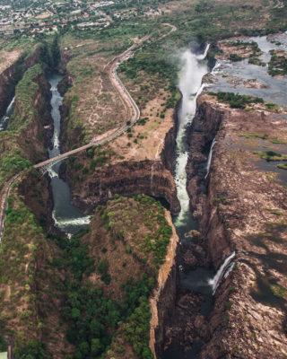Aerial view of Victoria Falls on the border of Zimbabwe and Zambia © Natalya Privalenko (Instagram/privalenkophoto)