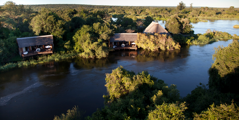 Aerial view of the accommodation on the banks of the Zambezi River