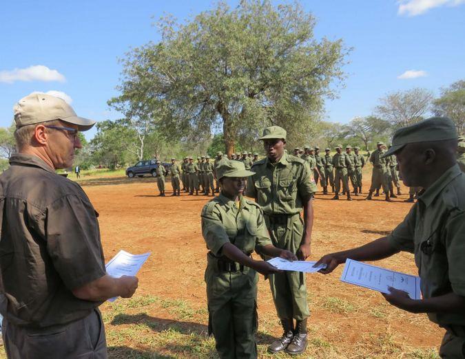 Ranger receiving her certificate