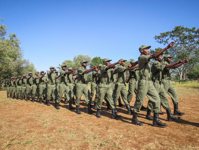 Rangers marching in Limpopo National Park, Mozambique
