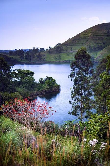A crater lake in Fort Portal, landscape, Uganda