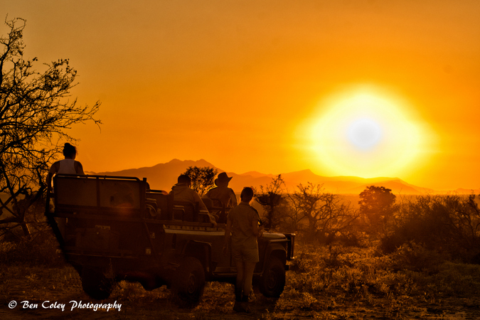 Field guide vehicle in the wild at sunset, South Africa