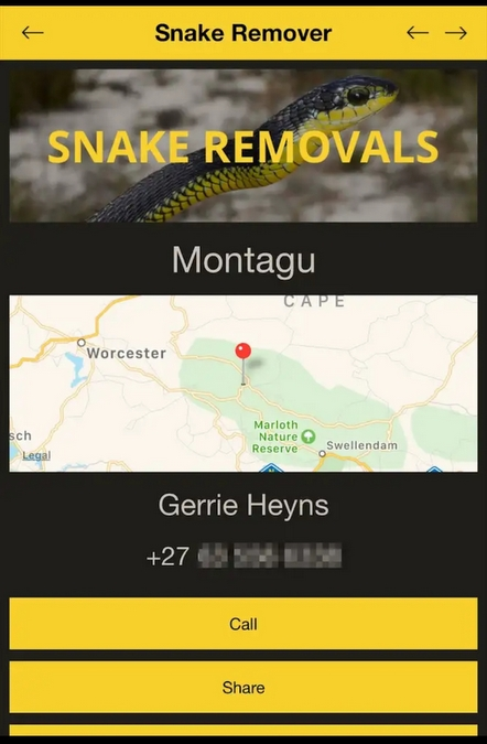 Mobile phone app on snake removals in Southern Africa