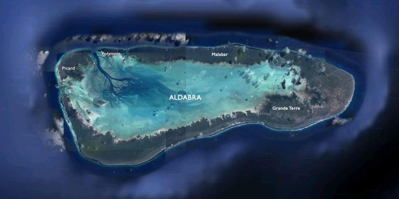 Satellite image of Aldabra Atoll, Seychelles