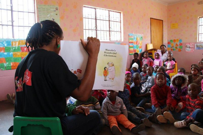 Children at school getting read to, community upliftment, Eco Children, Klaserie