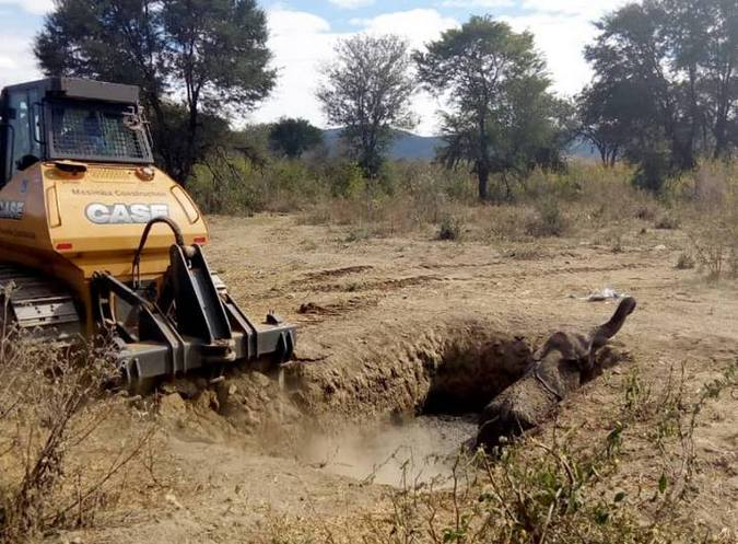 Bulldozer removing soil to help rescue stuck elephant in Zimbabwe