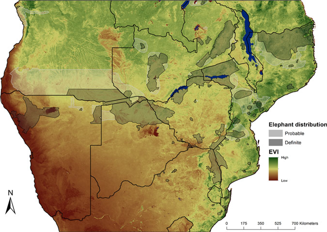 Map of southern Africa showing elephant distribution