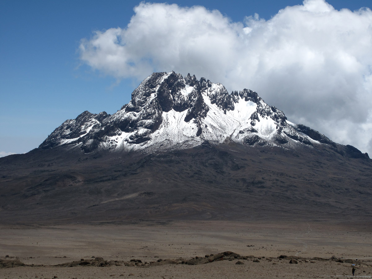 Mount Kilimanjaro with climber in foreground