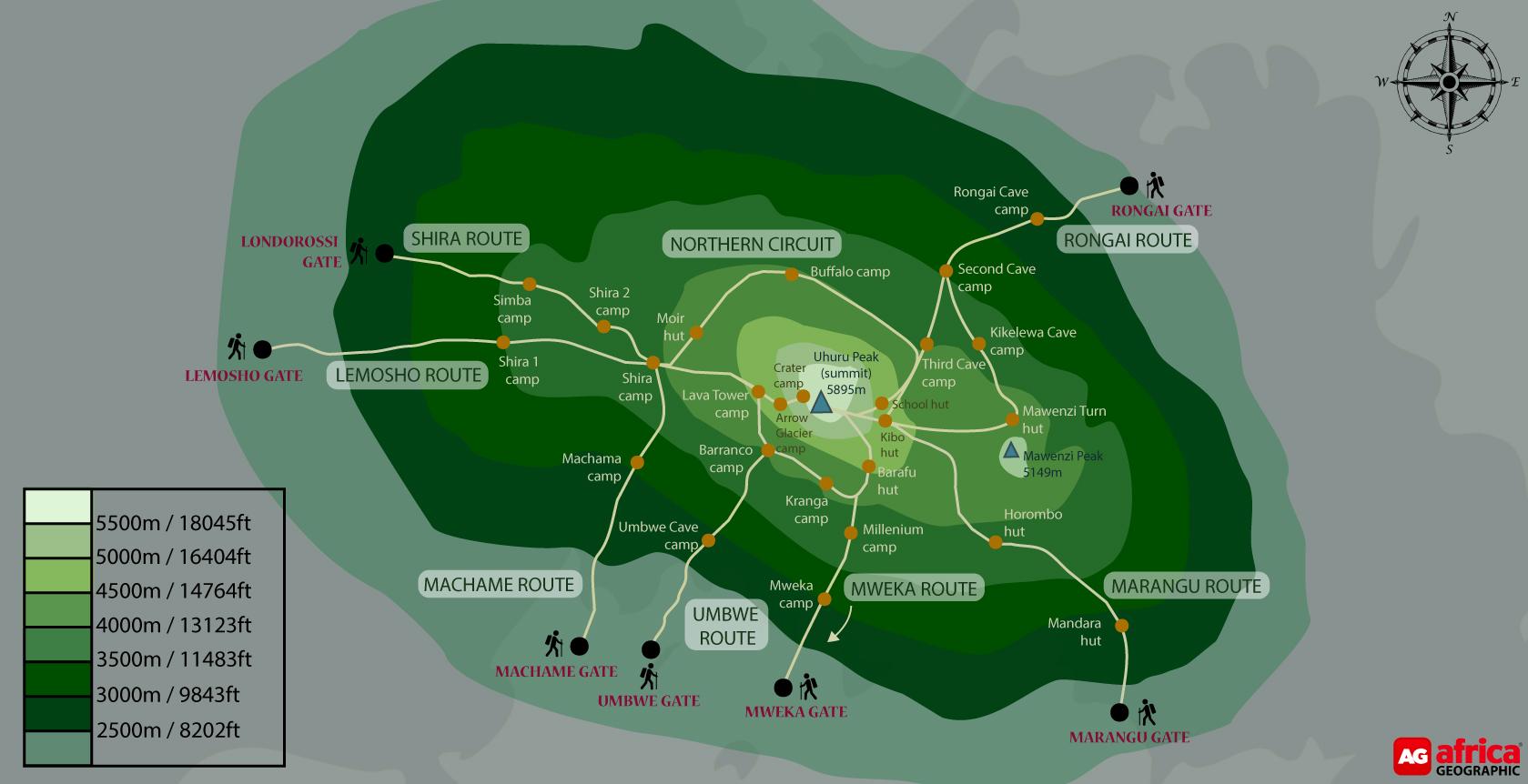 Mount Kilimanjaro route map