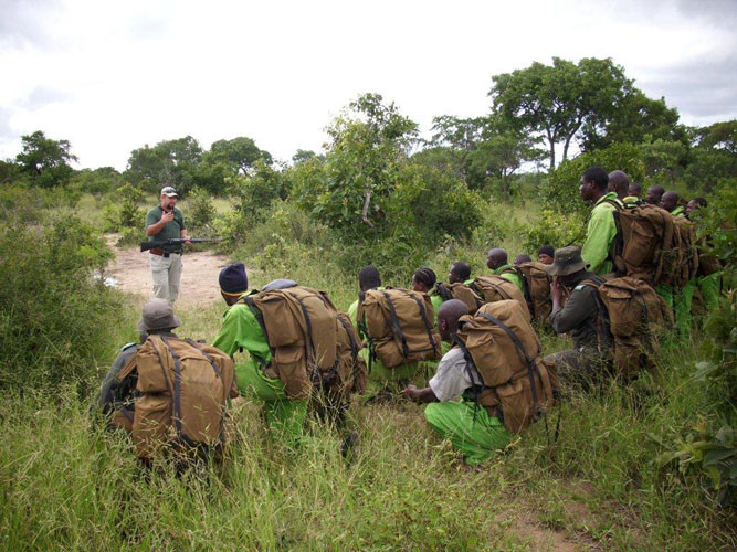 Wildlife rangers training in the African bush