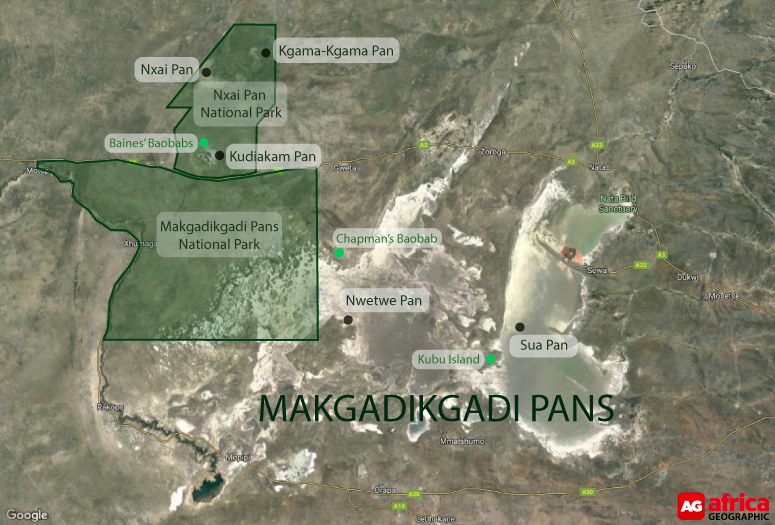 Map of Makgadikgadi Pans in Botswana © Google Maps/Africa Geographic
