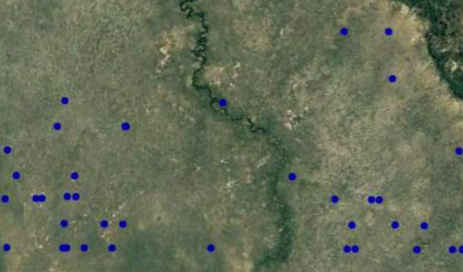 Elephant carcass locations in northern Botswana.