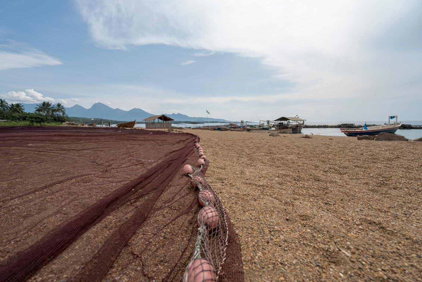 Fishing nets on the shore of Lake Malawi