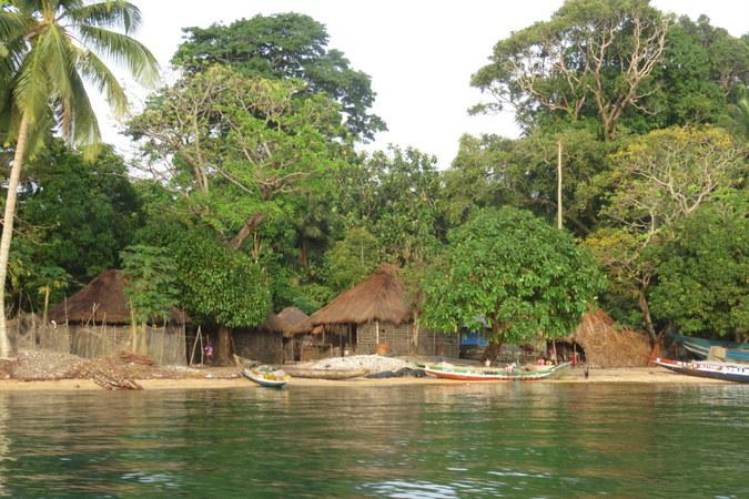 Village on Bakei, Turtle Islands, Sierra Leone