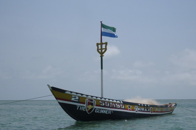 Boat in Bumpetuk,, Turtle Islands, Sierra Leone