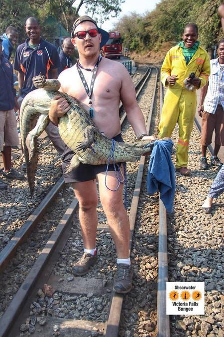 Paul Teasdale with crocodile