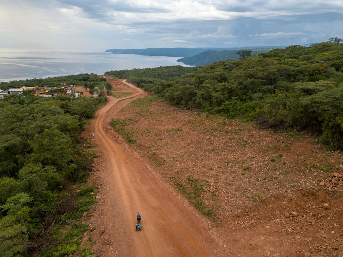 Aerial view of bike on dirt road in Africa