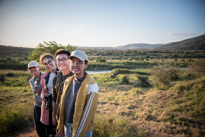 Chinese students in the African bush