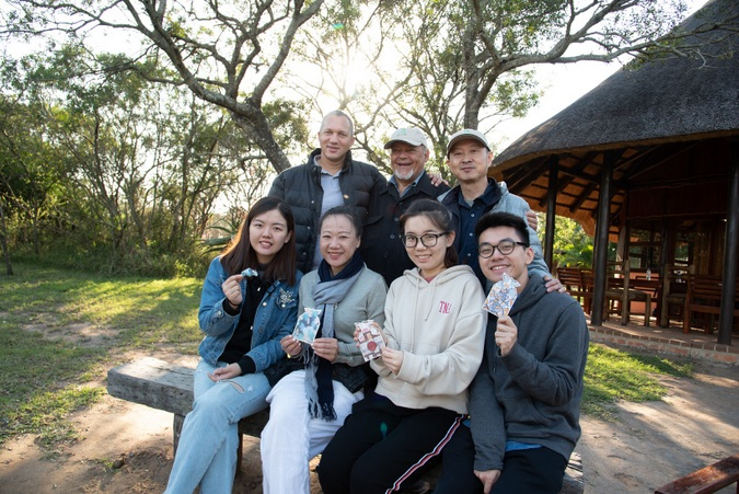 Chinese students and professors during a visit to Hluhluwe-iMfolozi Park, Peace Parks Foundation