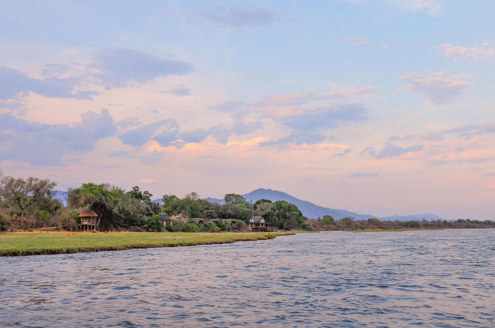 The view of Royal Zambezi Lodge from the Zambezi River