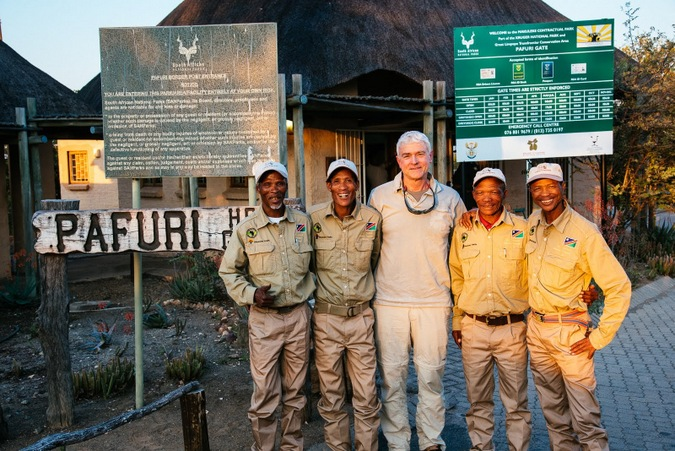The four trackers and Clive Thompson at the Pafuri Gate, Kruger National Park