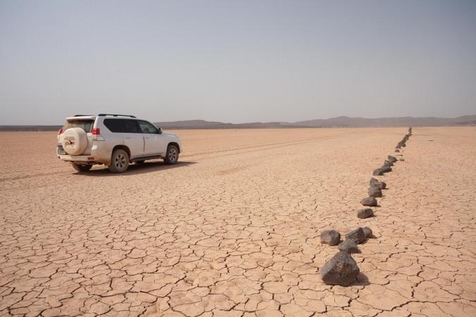 Driving in the arid desert of Djibouti