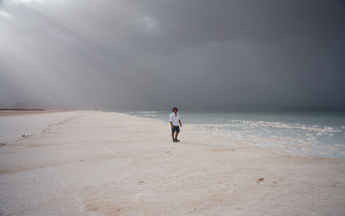 Author at the shoreline of Lac Abbe in Djibouti