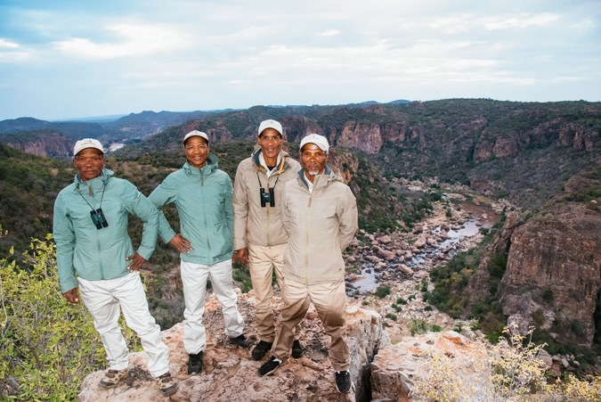 The four trackers at Lanner Gorge in the Kruger National Park