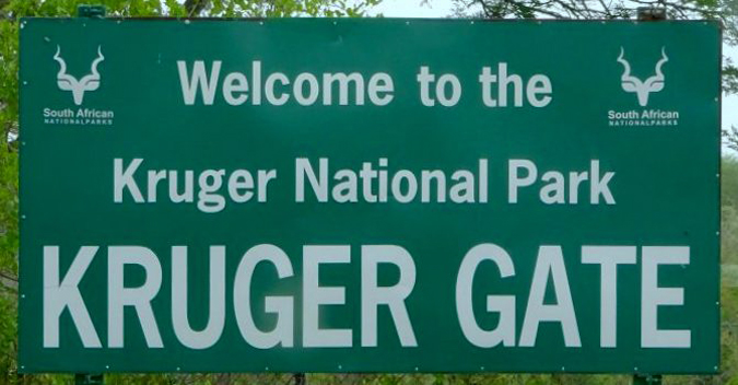 Kruger National Park gate sign