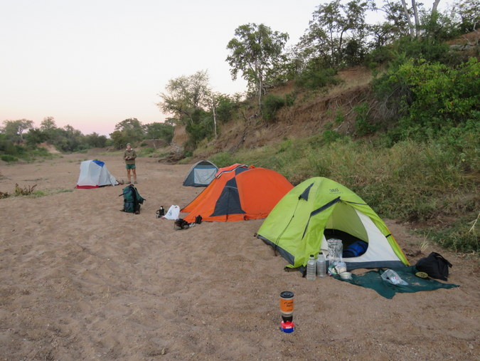 Tents pitched in dry riverbed in Kruger National Park in South Africa