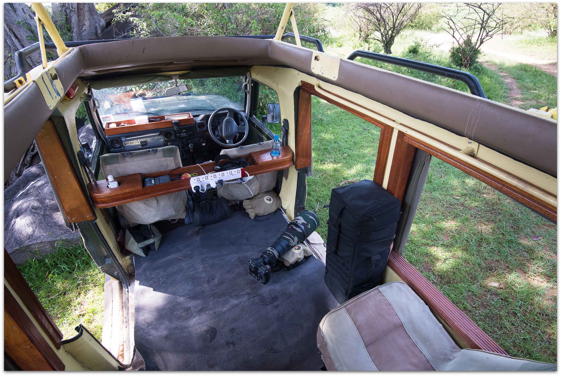 Inside a specially-adapted photographic safari vehicle