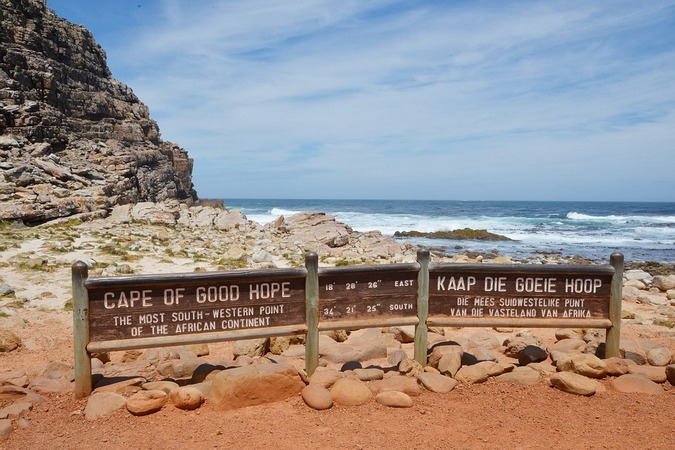 Cape of Good Hope sign in Table Mountain National Park, South Africa