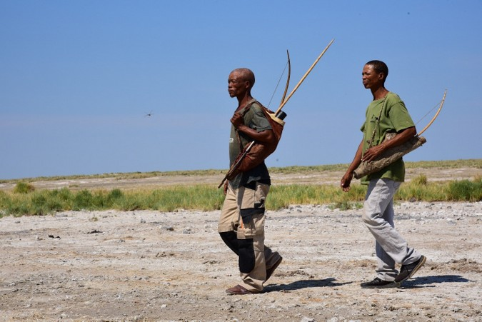 Two Master Trackers in Nyae Nyae Pan in Namibia